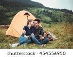 a couple of tourists in time of ... | Shutterstock . vector #454556950