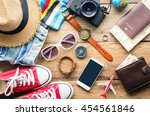 travel accessories on wooden... | Shutterstock . vector #454561846