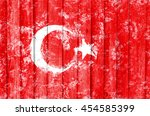 flag of the turkey created from ... | Shutterstock . vector #454585399