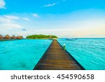 beautiful tropical maldives... | Shutterstock . vector #454590658