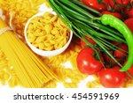 different types of raw italian...   Shutterstock . vector #454591969