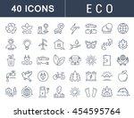 set vector line icons in flat... | Shutterstock .eps vector #454595764