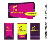 hand drawn logo music cafe with ... | Shutterstock . vector #454598236