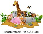 cartoon wild animals background | Shutterstock .eps vector #454611238