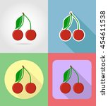 cherry fruits flat set icons... | Shutterstock . vector #454611538