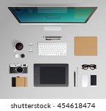 vector office workspace. top... | Shutterstock .eps vector #454618474