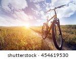 silhouette mountain biking at... | Shutterstock . vector #454619530