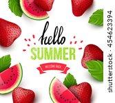 summer colorful poster. vector... | Shutterstock .eps vector #454623394