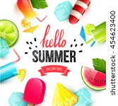 summer colorful poster. vector... | Shutterstock .eps vector #454623400