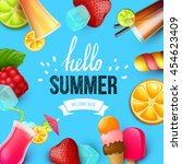 summer colorful poster. vector... | Shutterstock .eps vector #454623409