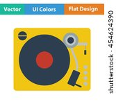 vinyl player icon. flat color...