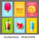 set of summer brochures with... | Shutterstock .eps vector #454624396