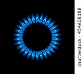Gas Burners  Blue Flame  Vecto...