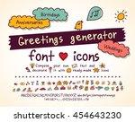greetings doodles set hand...   Shutterstock .eps vector #454643230