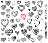collection of hand drawn hearts ... | Shutterstock .eps vector #454645273