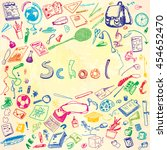 doodle illustration of school... | Shutterstock .eps vector #454652470
