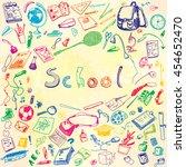 doodle illustration of school... | Shutterstock .eps vector #454652470