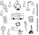 tools school hand draw in... | Shutterstock .eps vector #454656490
