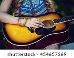 beautiful hippie girl with... | Shutterstock . vector #454657369
