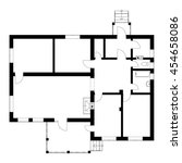 black and white floor plan of a ... | Shutterstock .eps vector #454658086