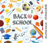 hand drawn vector school... | Shutterstock .eps vector #454661848