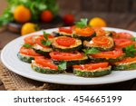 dish with a snack of fried... | Shutterstock . vector #454665199