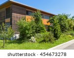 eco house  view from the meadow | Shutterstock . vector #454673278
