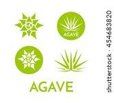 agave plant green flower logo... | Shutterstock .eps vector #454683820