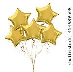 gold star shaped foil helium...   Shutterstock .eps vector #454689508
