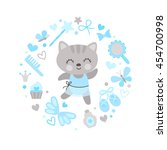 set girlish characters and... | Shutterstock .eps vector #454700998
