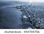 chicago city and connection... | Shutterstock . vector #454704706