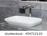 modern white sink with black... | Shutterstock . vector #454712110