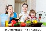 happy women of three... | Shutterstock . vector #454715890