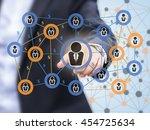 fintech and peer to peer... | Shutterstock . vector #454725634