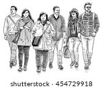 young people on a walk | Shutterstock . vector #454729918