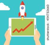successful startup business... | Shutterstock .eps vector #454732660