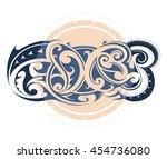 maori tribal tattoo as graffiti ... | Shutterstock .eps vector #454736080