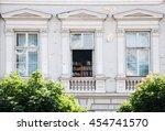 facade of a building with a...   Shutterstock . vector #454741570