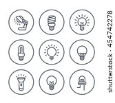 light bulbs line icons in... | Shutterstock .eps vector #454742278