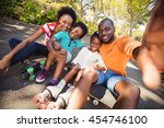 happy family are taking a... | Shutterstock . vector #454746100