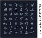 travel icons set on a black... | Shutterstock .eps vector #454763809