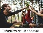 backpacker camping hiking... | Shutterstock . vector #454770730