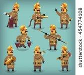 set of cartoon retro fireman... | Shutterstock .eps vector #454774108