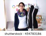 smiling fashion designer... | Shutterstock . vector #454783186