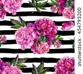 hand drawn pink peonies bouquet ... | Shutterstock . vector #454793200