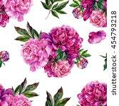 hand drawn pink peonies bouquet ...   Shutterstock . vector #454793218