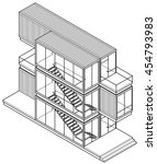 line art drawing of a house... | Shutterstock .eps vector #454793983