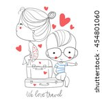 girl and boy with suitcase in... | Shutterstock .eps vector #454801060