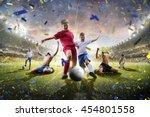 collage children soccer players ... | Shutterstock . vector #454801558