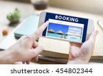 holiday reservation website... | Shutterstock . vector #454802344